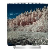 Marshall Pond In Infrared Shower Curtain