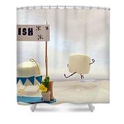 Marshmallow Marathon Shower Curtain by Heather Applegate