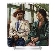 Martin And Rosa Up Front Shower Curtain by Colin Bootman