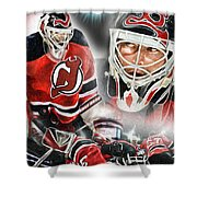 Martin Brodeur Collage Shower Curtain by Mike Oulton