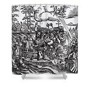 Martin Luther 1483 1546 Writing On The Church Door At Wittenberg In 1517 Shower Curtain
