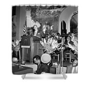 Martin Luther King Jnr 1929 1968 American Black Civil Rights Campaigner In The Pulpit Shower Curtain