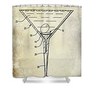 Martini Glass Patent Drawing Shower Curtain