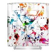 Martini Paint Splatter Shower Curtain