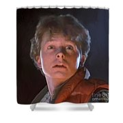 Marty Mcfly Shower Curtain by Paul Tagliamonte