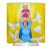 Mary Offers Her Child Jesus To His Father Shower Curtain