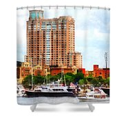 Maryland - Boats At Inner Harbor Baltimore Md Shower Curtain