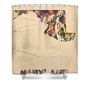 Maryland Map Vintage Watercolor Shower Curtain