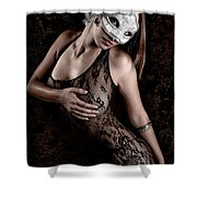 Mask And Lace Shower Curtain