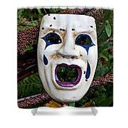 Mask And Ladybugs Shower Curtain by Garry Gay