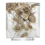 Mask Brown Water Sketch Shower Curtain