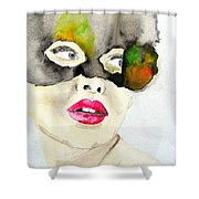Mask In Watercolor Shower Curtain