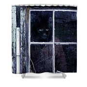 Masked Man Looking Out Window Shower Curtain