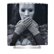 Masked Woman Shower Curtain by Joana Kruse