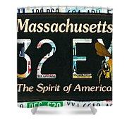 Massachusetts License Plate Shower Curtain