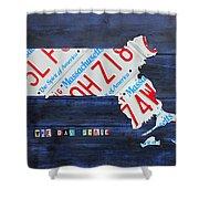 Massachusetts License Plate Map Shower Curtain