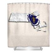 Massachusetts Map Art With Flag Design Shower Curtain