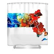Massachusetts - Map Counties By Sharon Cummings Shower Curtain by Sharon Cummings
