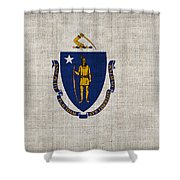 Massachusetts State Flag Shower Curtain by Pixel Chimp