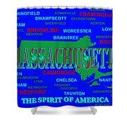 Massachusetts State Pride Map Silhouette  Shower Curtain