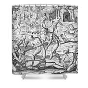 Massacre Of Christian Missionaries Shower Curtain by Theodore De Bry