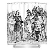 Massasoit Forges Treaty With Pilgrims Shower Curtain