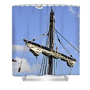 Mast And Rigging On A Replica Of The Christopher Columbus Ship P Shower Curtain