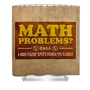 Math Problems Hotline Retro Humor Art Poster Shower Curtain by Design Turnpike
