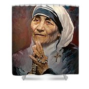 Mather Teresa Shower Curtain by Ylli Haruni