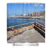 Matosinhos City Skyline In Portugal Shower Curtain