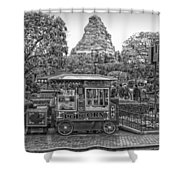 Matterhorn Mountain With Hot Popcorn At Disneyland Bw Shower Curtain