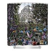 Matterhorn Mountain With Tea Cups At Disneyland Shower Curtain