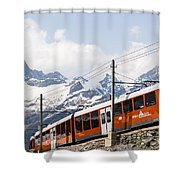 Matterhorn Railway Zermatt Switzerland Shower Curtain by Matteo Colombo