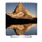 Matterhorn Reflected In Riffelsee Lake  Shower Curtain
