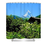 Matterhorn With Mountain Chalet Shower Curtain