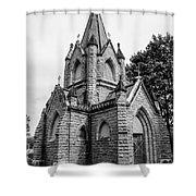 Mausoleum New England Black And White Shower Curtain