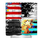 Max Stars And Stripes In Quad Colors Shower Curtain