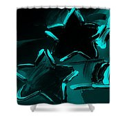 Max Two Stars In Turquois Shower Curtain