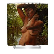 May Morning Arkansas River 4 Shower Curtain by Thu Nguyen