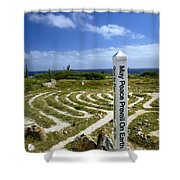 May Peace Prevail On Earth Peace Labyrinth Aruba Shower Curtain