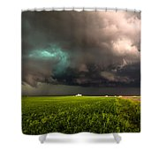 May Thunderstorm - Storm Twists Over House On Colorado Plains Shower Curtain