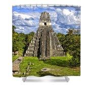 Mayan Temple At Tikal Shower Curtain