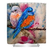 Maybe She's A Bluebird Cropped Shower Curtain