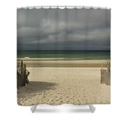 Mayflower Beach Storm Shower Curtain by Amazing Jules