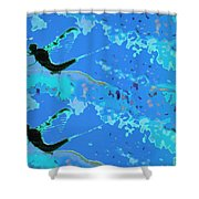 Mayfly Abstract Blue Shower Curtain