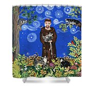 May's St. Francis Shower Curtain by Sue Betanzos