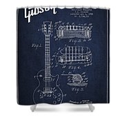 Mccarty Gibson Les Paul Guitar Patent Drawing From 1955 - Navy Blue Shower Curtain