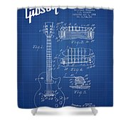 Mccarty Gibson Les Paul Guitar Patent Drawing From 1955 - Bluepr Shower Curtain