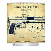 Mcclean Pistol Drawing From 1903 - Vintage Shower Curtain