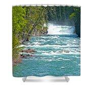 Mcdonald Creek Falls In Glacier Np-mt Shower Curtain